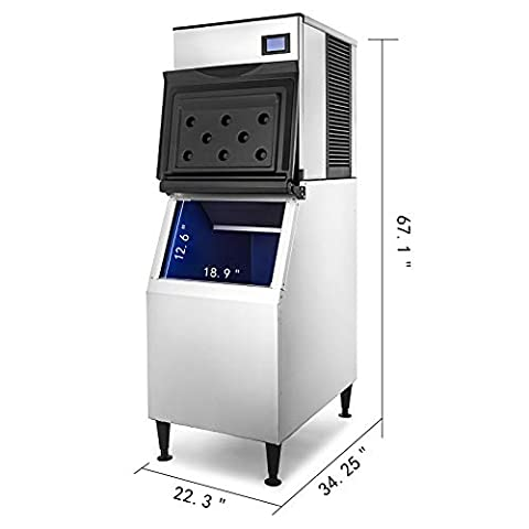 VEVOR 110V Commercial Ice Maker 550 LBS in 24 Hrs with 350LBS Storage 182 Cubes LCD Control Auto Clean for Bar Home Supermarkets Restaurant, Includes Scoop and Connection Hoses