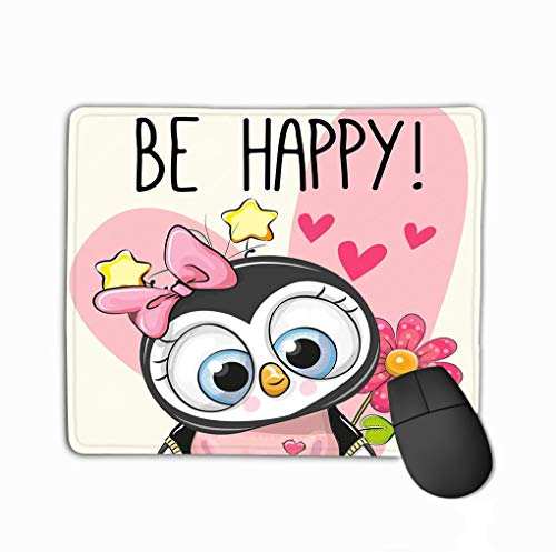 Mouse pad be Happy Greeting Card Penguin Hearts Flower be Happy Greeting Card Penguin Hearts steelseriesKeyboard