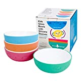 Kids Tempered Glass White Bowls with Silicone Sleeve - Suitable for Kids/Toddler/Baby Feeding - Microwave & Dishwasher Safe - Tempered Strong Glass - Non Slip - Cereal/Soup/Snack Dishes