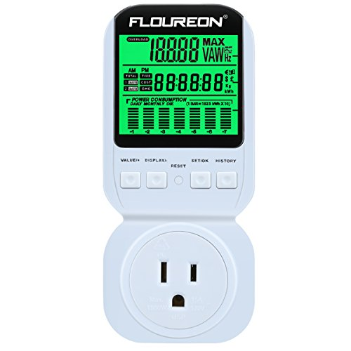 Floureon Power Meter AC 190V~270V 15A Max US Scoket Switch Energy Plug Energy Monitor LCD Display Daily Monthly Power Consumption Cost Watt Voltage Amp Meter Calculator Analyzer[Energy Class A+++]