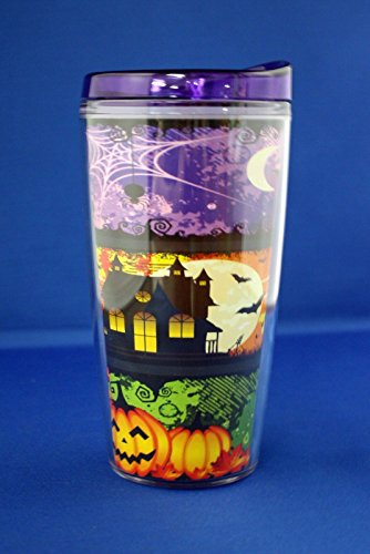 Insulated Glow in the Dark Tumbler Coffee Cup w/ Lid - Halloween, 16 oz Hot/Cold (Halloween (Halloween Insulated Tumblers)