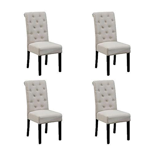 Huisenus Set of 4 Padding Dining Chair Button Wood Dining Chair Upholstered Fabric for Dining Room Restaurant Wedding Reception Beige