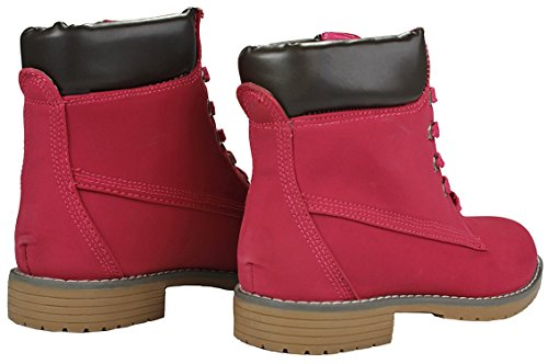 Fashion Work Collar Women Pink Lace Boots Two Zony Ankle Military Up Combat Tone Padded Dk RF1wq