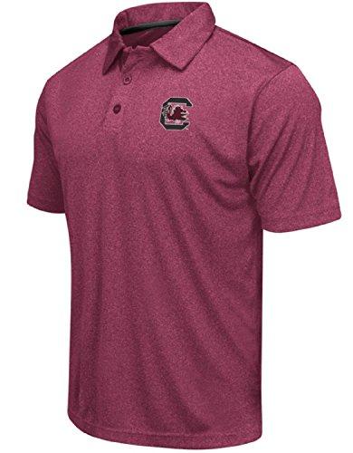 (Colosseum Men's NCAA Heathered Trend-Setter Golf/Polo Shirt-South Carolina Gamecocks-Heathered Garnet-XL)