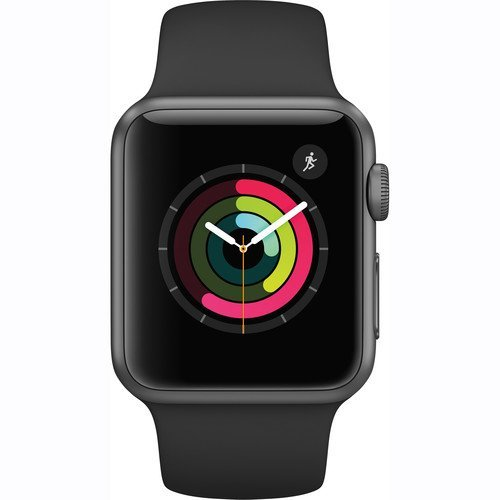 Apple Watch Series 1 Smartwatch 38mm Space Gray Aluminum Case, Black Sport Band (Newest Model) (Renewed) by Apple
