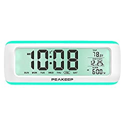 PEAKEEP Loud 5 Wake-up Alarm Sounds Battery Digital Alarm Clock for Heavy Sleepers, Temporary Backlight, Rotary Knob for Easy Set, 2 AA Batteries Required(White with Teal)