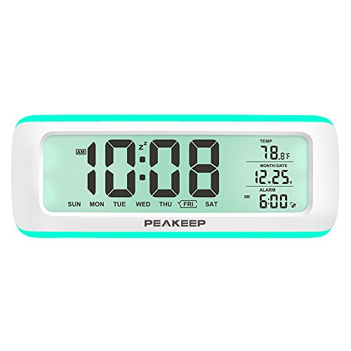 - PEAKEEP Loud 5 Wake-up Alarm Sounds Battery Digital Alarm Clock for Heavy Sleepers, Temporary Backlight, Rotary Knob for Easy Set, 2 AA Batteries Required(White with Teal)