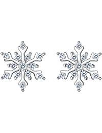 925 Sterling Silver Cubic Zirconia Winter Snowflake Stud Earrings Clear
