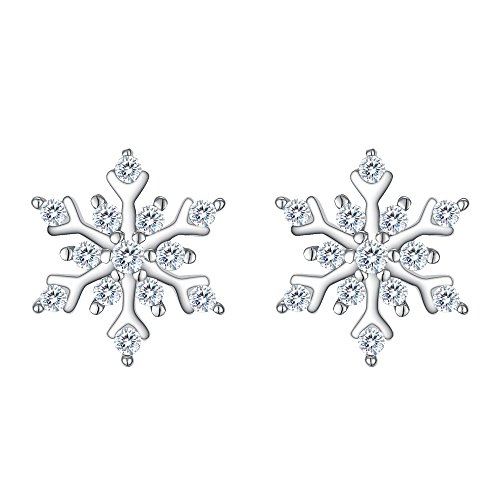 Snowflake Earrings - EleQueen 925 Sterling Silver Cubic Zirconia Winter Snowflake Stud Earrings Clear