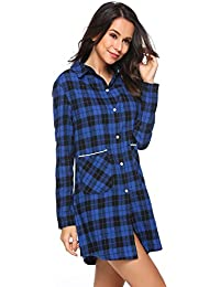 Womens Cotton Nightgown Button Down Plaid Boyfriend Shirt Sleep Dress