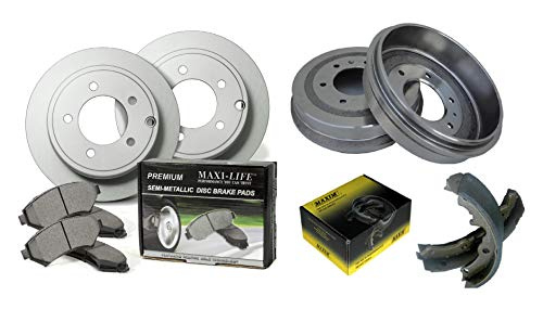 Front Geomet Coated Rotors and Premium Semi Metallic Pads featuring Tripple Layer Wolverine Shims & Rear OE Spec Quiet Technology Drums and Perfect Fit Premium Brake Shoes BK40975CM | Fits: Corolla