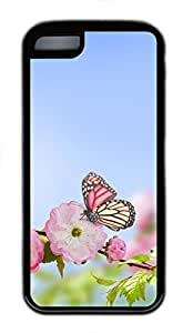Brian114 iPhone 5C Case - Pink Peach Blossoms And The Butterfly 2 Soft Rubber Black iPhone 5C Cover, iPhone 5C Cases, Cute iPhone 5c Case