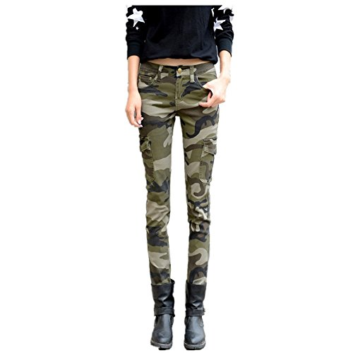 NASKY Women's Camo Army Slim Stretch Jeans Tight Pants Leggings Cargo Pencil Pants Size 10 (Capri Leggings Cargo)