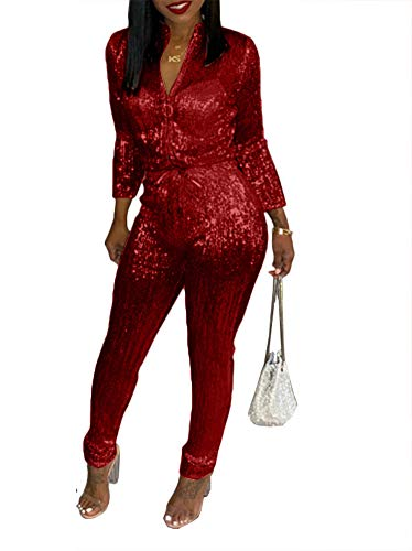 Sequined Drawstring - Remelon Womens Sexy V Neck Glitter Long Sleeve Zipper Drawstring Bodycon High Waisted One Piece Jumpsuits Rompers Red S
