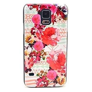 ZXM-Patrón de la flor de Rose Tattoo Alfombra cubierta del estuche rígido para Samsung Galaxy i9600 S5
