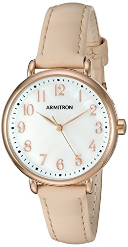 Armitron Women's 75/5404MPRGBH Easy To Read Rose Gold-Tone and Beige Leather Strap (Beige Leather Strap Watch)
