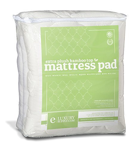 ExceptionalSheets Rayon from Bamboo Mattress Pad with Fitted Skirt - Extra Plush Cooling Topper - Hypoallergenic - Made in The USA, Queen