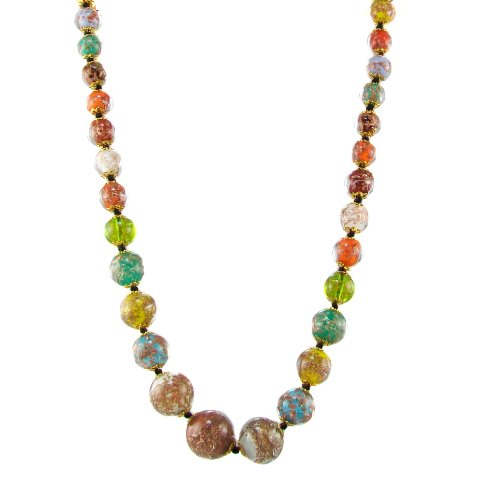 Just Give Me Jewels Venice Murano Sommerso Aventurina Glass Bead Graduated Strand Necklace in Multi-Colors, 19