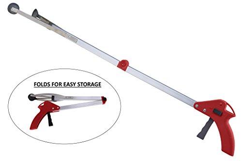 """Premium Reacher - Ergonomic Lightweight 32"""" Folding Reacher Grabber Tool - Red from MARS WELLNESS"""