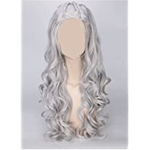 OYSRONG 31.5'' Women Long Curly Anime Daenerys Targaryen Costume Cosplay Lace Cap Wig (gray)