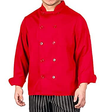 Red Lightweight Long Sleeve Chef Coat - S