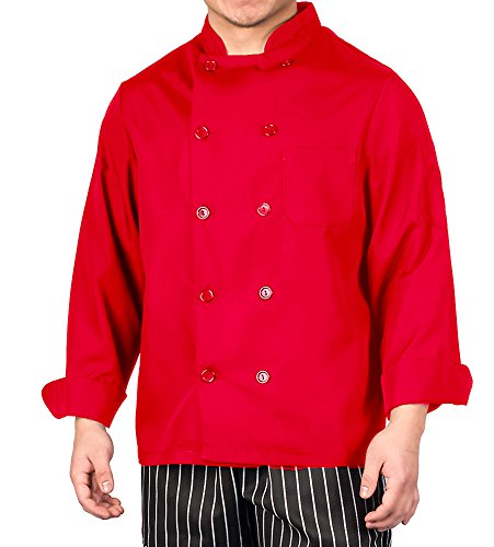 (KNG Red Lightweight Long Sleeve Chef Coat,Medium )