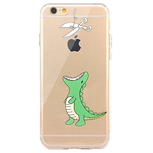 JAHOLAN iPhone 6 Case, iPhone 6S Case Amusing Whimsical Design Clear Bumper TPU Soft Case Rubber Silicone Skin Cover for iPhone 6 6S - Hungry Dinosaur