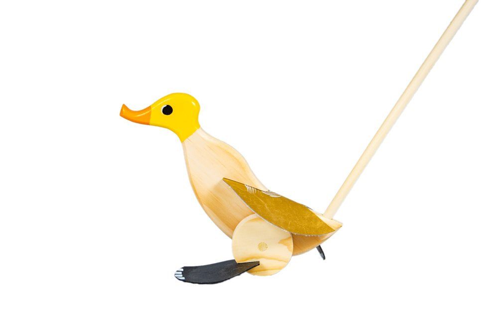 Duck Runner Wooden Push and Pull Walking Toy (Yellow)