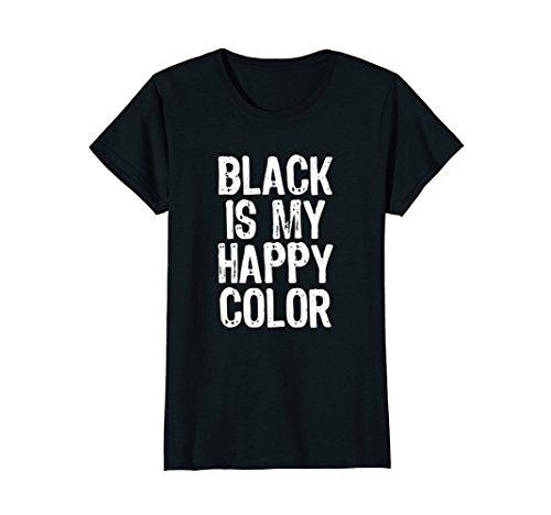 Womens Black Is My Happy Color T-Shirt Medium Black