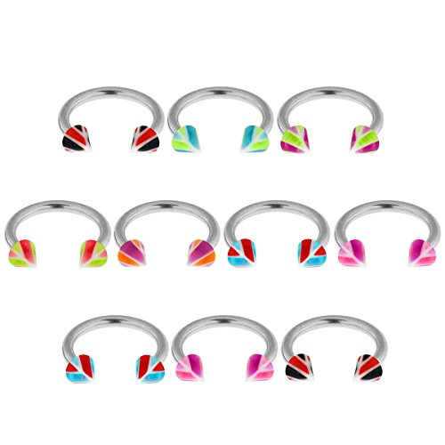 16Gx5/16 (1.2x8MM) 316L Surgical Steel Circular Barbell with 3MM UV Multi Colored Basketball Cone Body jewelry - 10 Pieces Assorted Color as Show (Cone Harmony Ear)