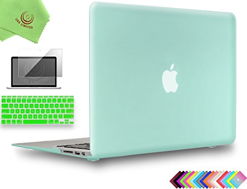 UESWILL 3in1 Smooth Matte Hard Shell Case Cover for MacBook Air 11 inch (Model: A1370/A1465) + Keyboard Cover and Screen Protector + Microfibre Cleaning Cloth, Green