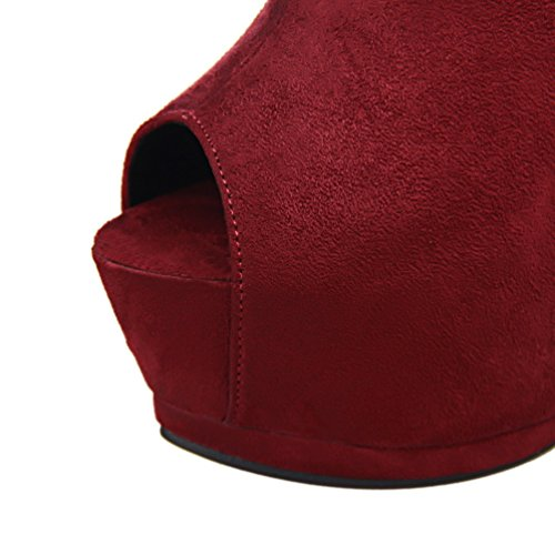 HooH Women's Peep Toe Buckle Zipper Platform Ankle Boot Wine Red Nvk8NJ3V