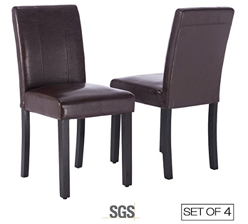 ZXBSWELE Set of 4 Leatherette Solid Wood Parson Chair for Dining Room, Living Room, Patio, Brown (Tables For Parsons Sale)