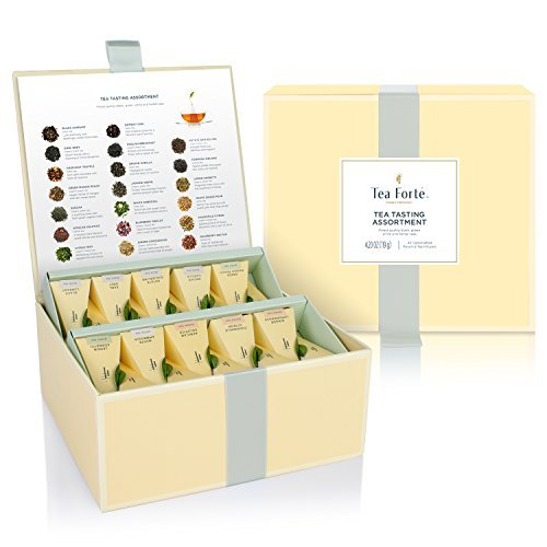 Tea Forté Tea Tasting Assortment Tea Chest Gift Box, 40 Handcrafted Pyramid Tea Infuser Bags - Assorted Variety Black Tea, Herbal Tea, Oolong Tea, Green Tea, White Tea ()