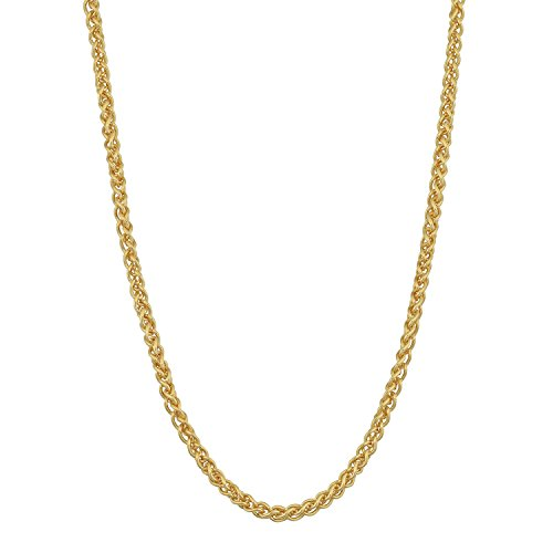 MCS Jewelry 14 Karat Yellow Gold Solid Round Wheat Chain Necklace 2.1mm (Length: 16
