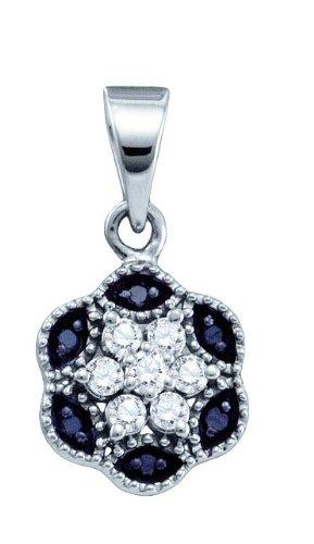 10 k or blanc Diamant 0,20 Dwt pendentif fleur de qualité supérieure Doré JewelryWeb or 9 carats