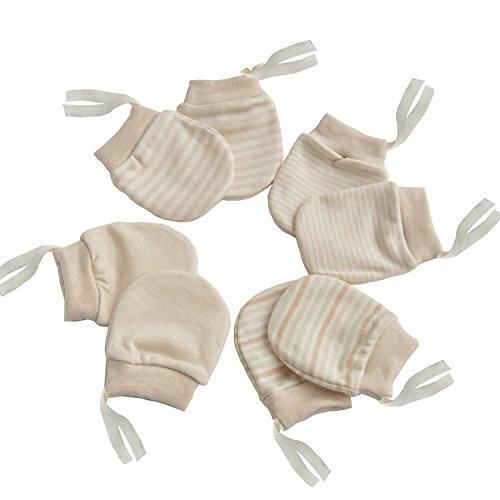 No Scratch Newborn Mitten Organic Cotton Mitts Baby Glove for Infant 0-6 Month Unisex