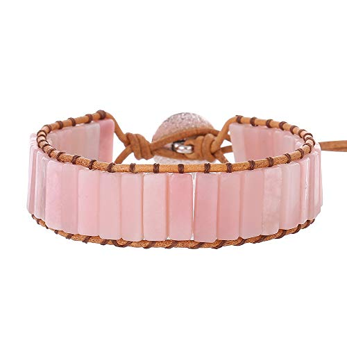 IUNIQUEEN Leather Natural Stone 1 wrap Bead Adjustable Women Girl Bracelet Collection (Pink Opal)