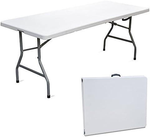 Mesa plegable para feria, jardín, mercado, pícnic, camping de resina dura, 180 x 75 x 74 cm: Amazon.es: Hogar