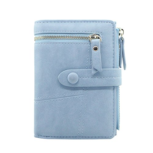 Zip Purse Coin Short Leather Wallet Soft Blue Holder Bifold Women's Card Small Badiya Simple 8qan50F