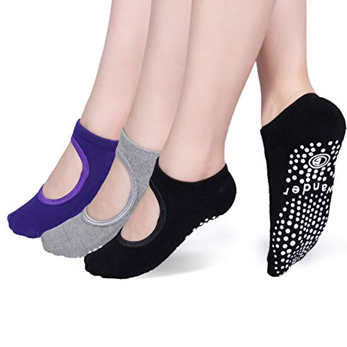 Yoga Socks Non Slip Skid Socks with Grips Pilates Ballet Barre Socks for Women from Wander G