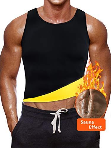 Tutium Men's Hot Sweat Body Shaper Tummy Fat Burner Tank Top, Sauna Waist Trainer Vest for Weight Loss, Neoprene Slimming Shirt Workout Suit (Yellow, XL)