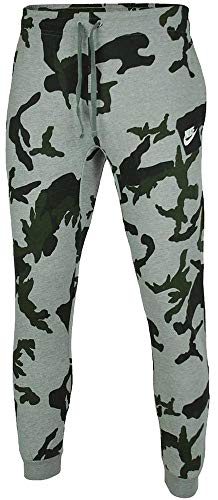 Nike Mens Club Fleece Jog Pant Camo Track Pant Cuffed Tracksuit Bottoms Grey New AH7020 (Large)