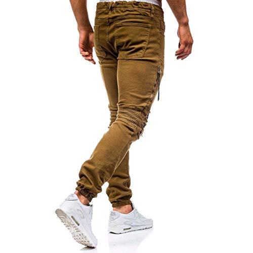 Pants Straight Saoye In Ridges Jeans Men's Giovane Jogger Holes Knee Pantaloni Ripped Skinny Khaki Fashion Stretch Denim Retro BBwSz