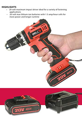 iBELL BM18-60 20V Brushless Impact Driver Drill (Cordless) with 2 Batteries, Charger, Case and Screw Driver Bit - 1 Year Warranty. 5
