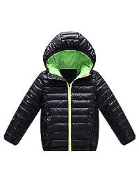 AMSKY Children Kids Boys Girls Long Sleeved Hooded Jacket Keep Warm Zipper Wadded Overcoat Clothes