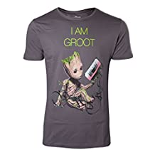 Guardians of the Galaxy T Shirt Mini I am Groot Tape Official Mens New Grey