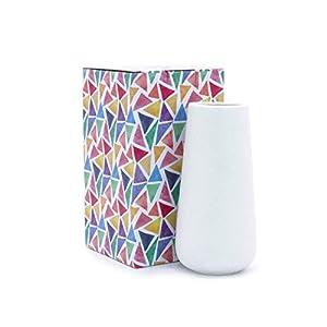 D'vine Dev 8 Inch White Ceramic Vase for Flowers - Home Decor Vase Table Centerpieces Vase - Gift Box Packaged