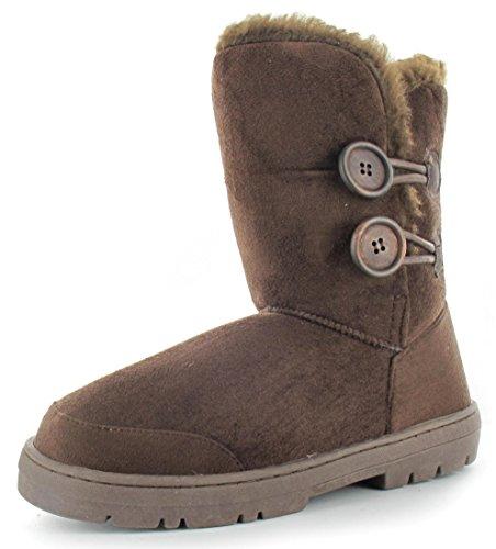 "Ella Shoes ""Rita Faux fur warm winter boots UK Sizes 3-8 Brown"