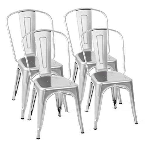Costway Tolix Style Dining Chairs Set of 4 Metal Stackable Industrial Vintage Chic High Back Indoor Outdoor Dining Bistro Café Kitchen Side Chair (Silver)
